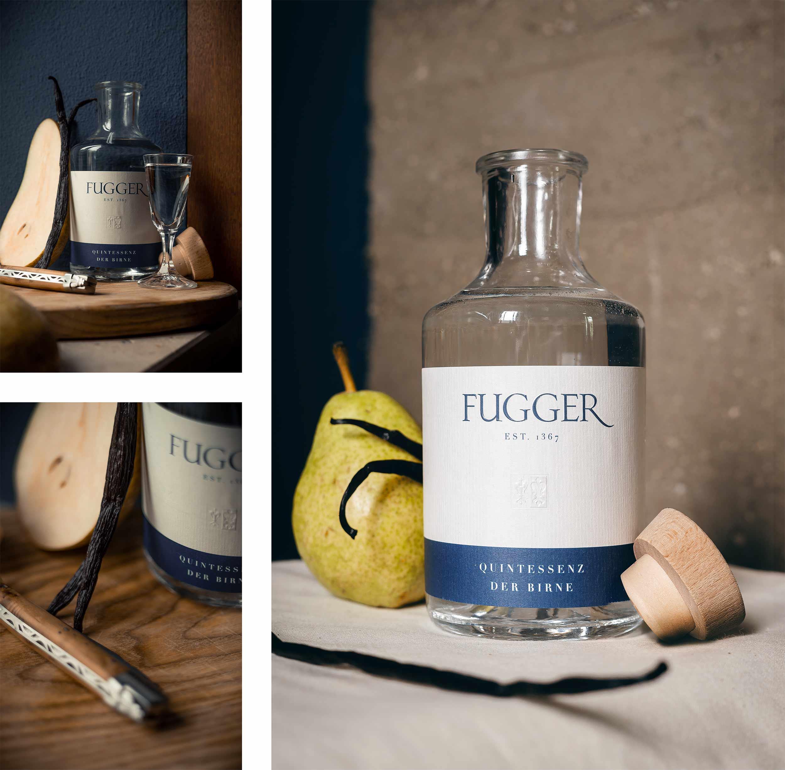 fugger destillate augsburg label design spirituosen blockundstift quintessenz der birne