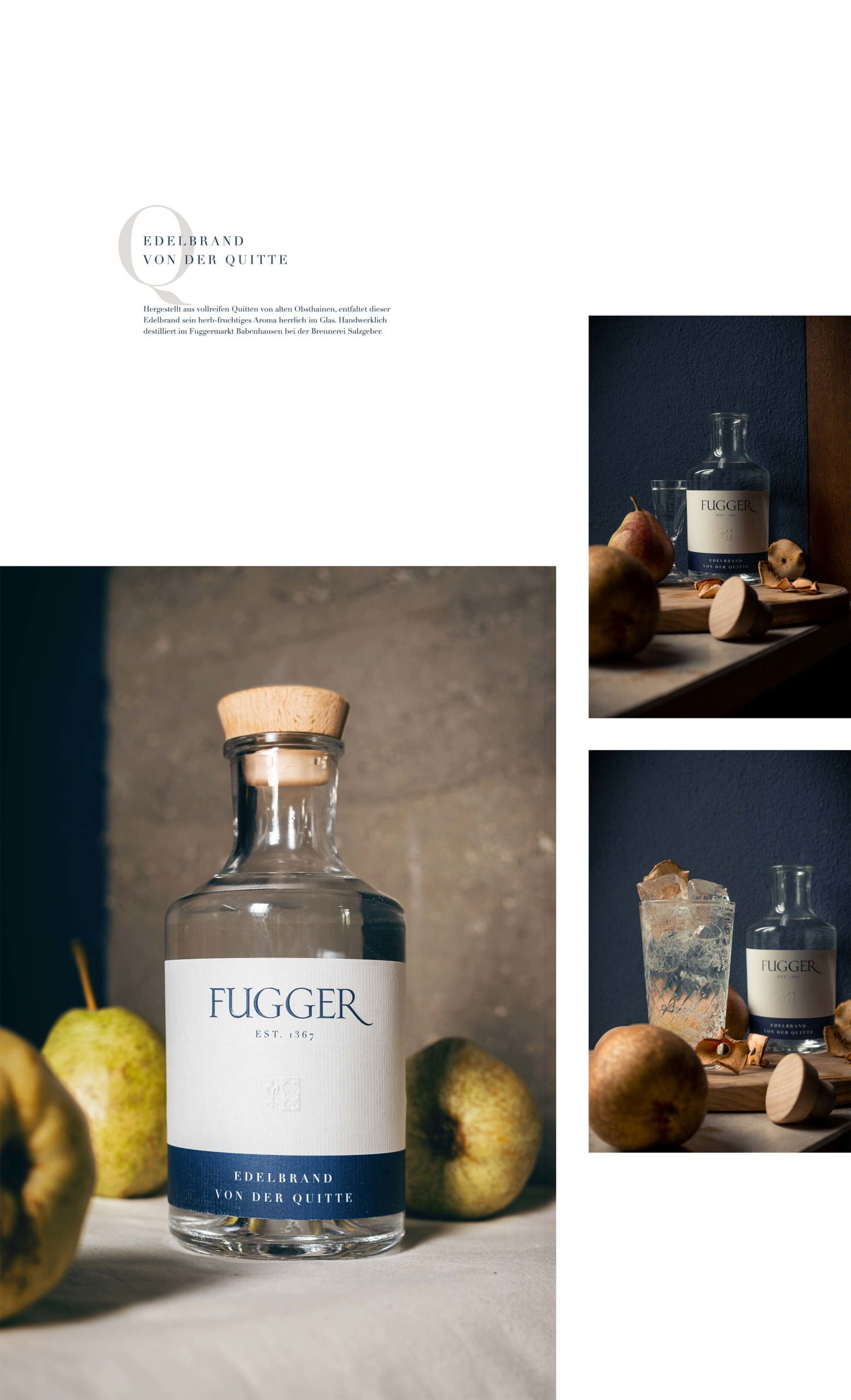 fugger destillate augsburg label design spirituosen blockundstift edelbrand von der quitte